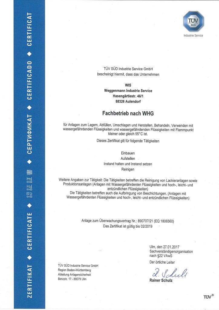 WHG Zertifikat 2018